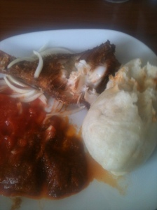 Scrumptious sea bream, banku and peppers.